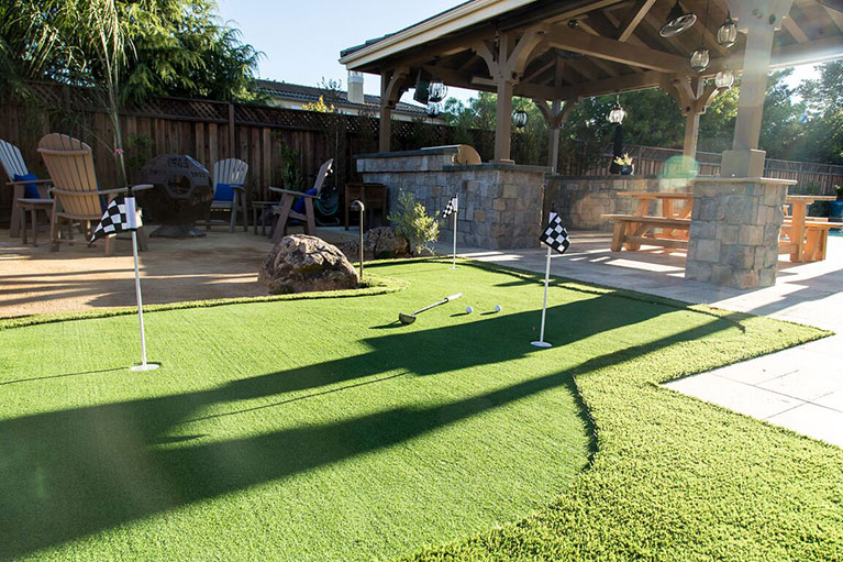 Putting green installed in Redwood City, CA after a successful swimming pool demolition