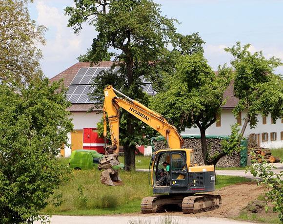 pool demolition excavator